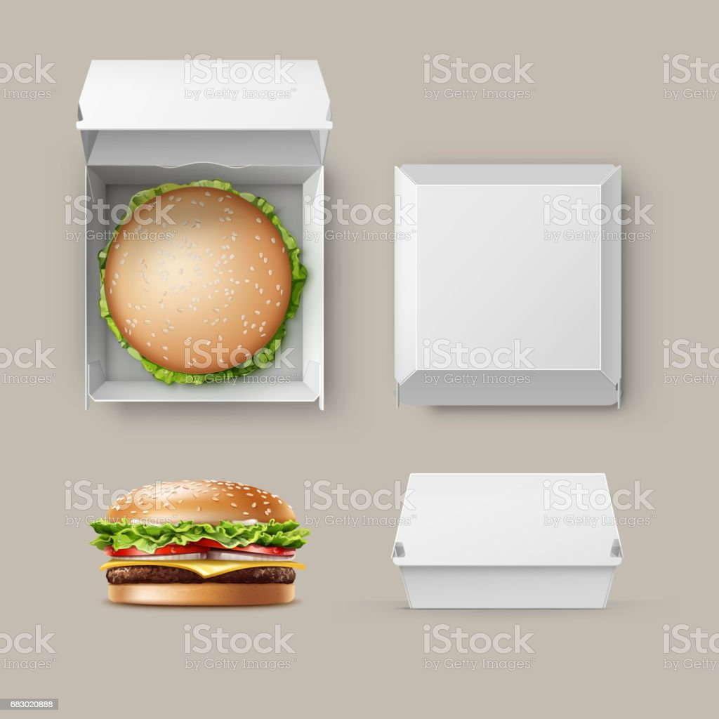 Vector Set of Realistic Container fwith Hamburger vector art illustration