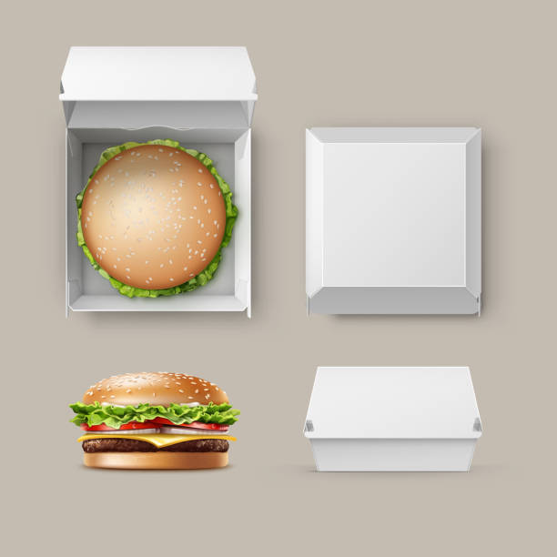 vector set of realistic container fwith hamburger - burgers stock illustrations, clip art, cartoons, & icons