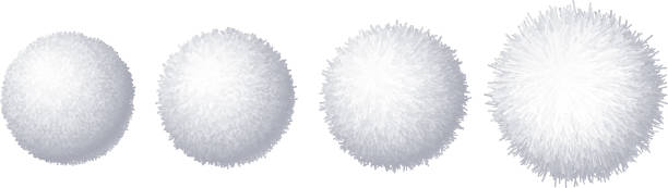 Vector set of realistic fur pompons isolated on white background Vector set of realistic fur pompons isolated on white background. Eps8. RGB. Global color fluffy stock illustrations