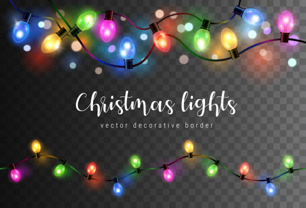 Vector set of realistic glowing colorful christmas lights in seamless pattern isolated on dark background Vector set of realistic glowing colorful christmas lights in seamless pattern isolated on dark background holidays stock illustrations