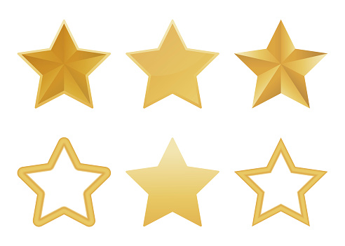 Vector set of realistic golden 3D star isolated on white background. Glossy Christmas stars icon. Vector illustration.