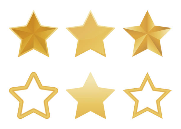 illustrazioni stock, clip art, cartoni animati e icone di tendenza di vector set of realistic golden 3d star isolated on white background. glossy christmas stars icon. vector illustration. - stelle