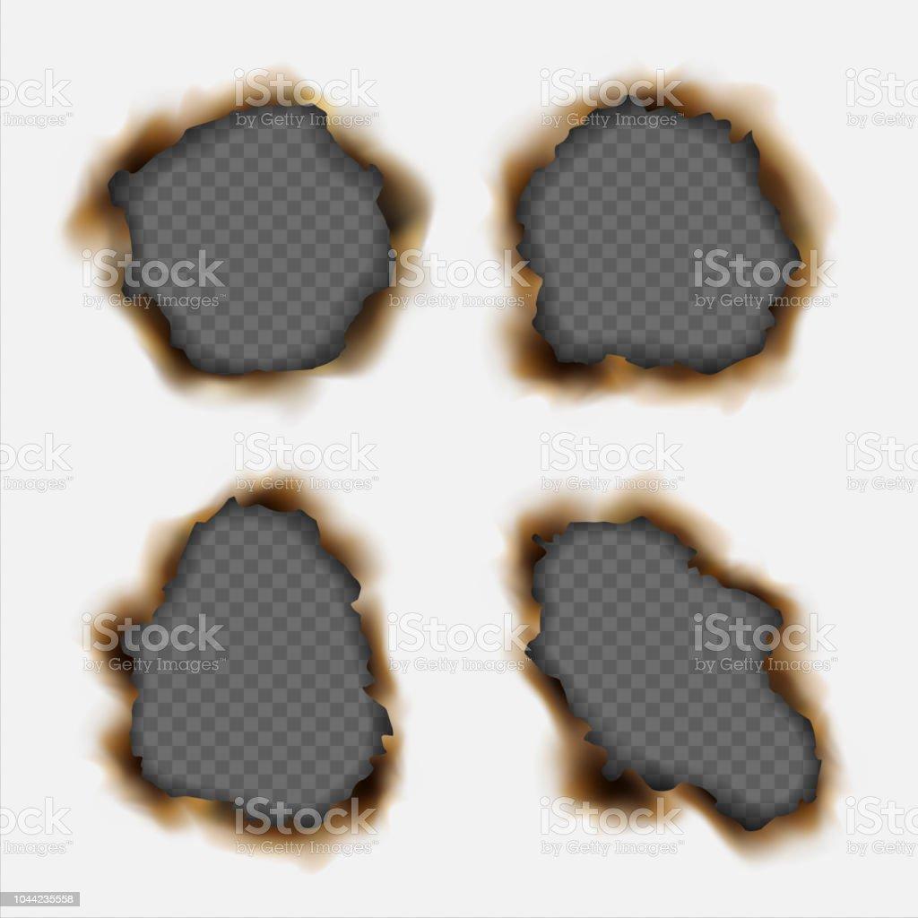 透明な背景に分離された紙の焦げた現実的な穴のベクトルを設定 3dの