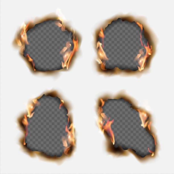 ilustrações de stock, clip art, desenhos animados e ícones de vector set of realistic holes burnt in paper with brown edges and flames isolated on transparent background - queimado