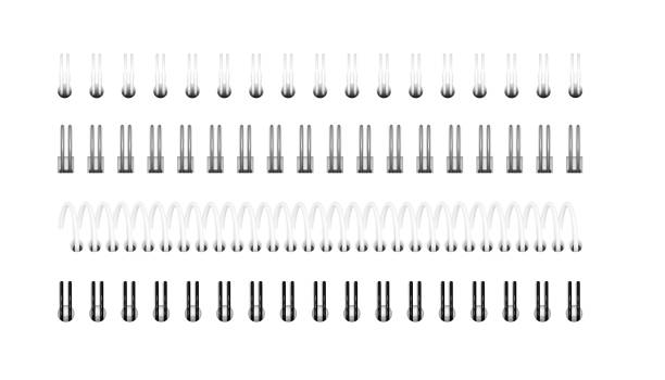 Vector set of realistic images of silver, black and white spirals for notebook, calendar, drawing album Vector set of realistic images (layout, mockup) of silver, black and white spirals for notebook, calendar, drawing album: a top view. The image was created using gradient mesh. EPS 10. bonding stock illustrations