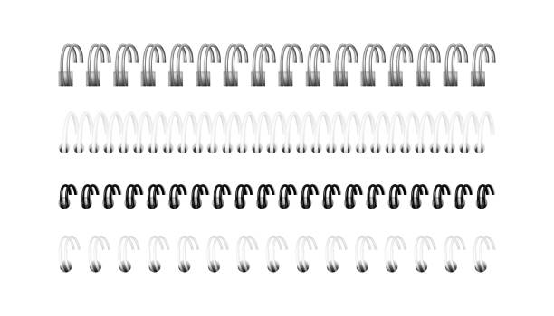 Vector set of realistic images of spirals for notebook Vector set of realistic images (layout, mockup) of silver, black and white spirals for notebook, calendar, drawing album: a perspective view. The image was created using gradient mesh. EPS 10. bonding stock illustrations