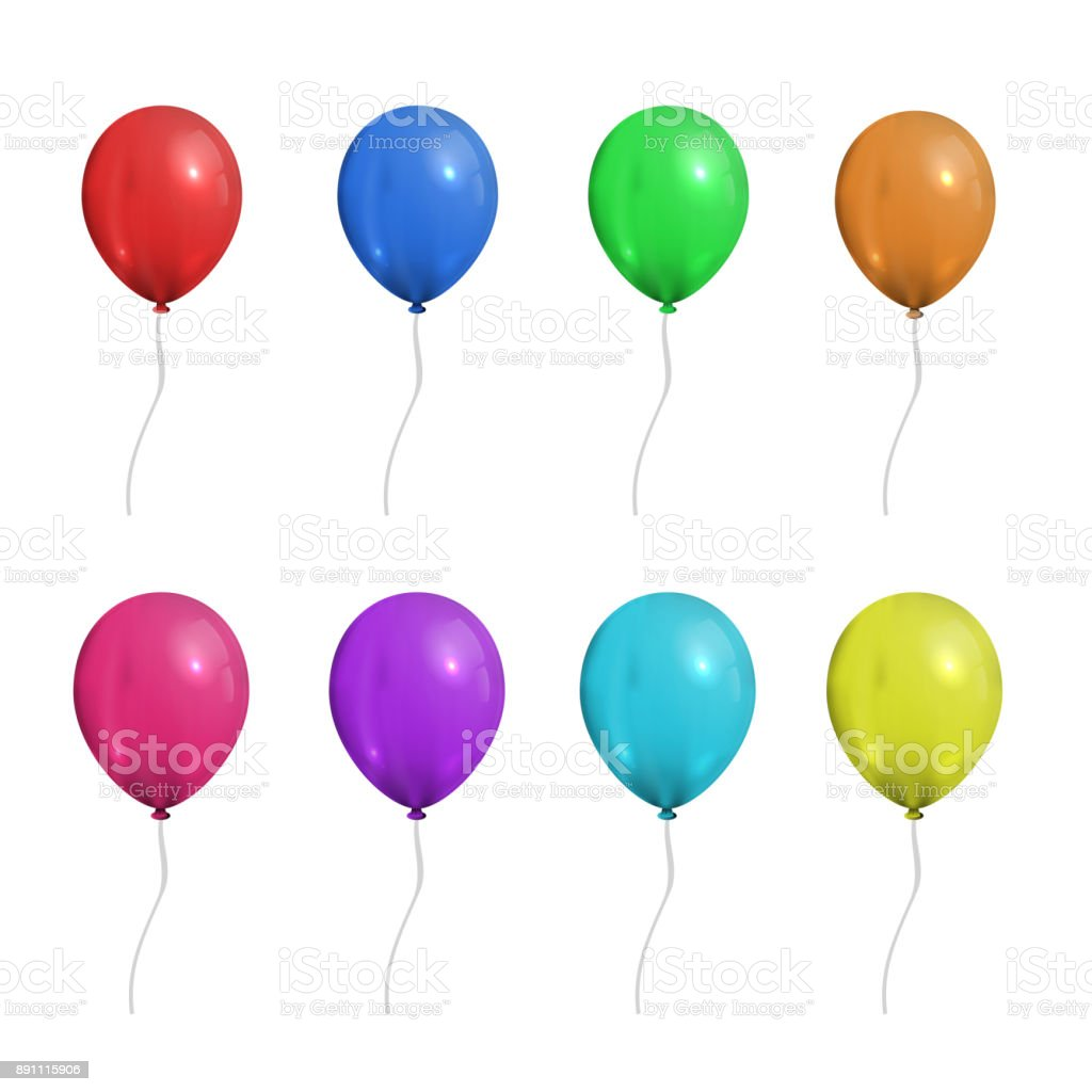 Vector set of realistic isolated balloons for celebration and decoration on the white background. vector art illustration