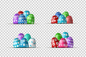 Vector set of realistic isolated borders with easter eggs for decoration and covering on the transparent background. Concept of Happy Easter.