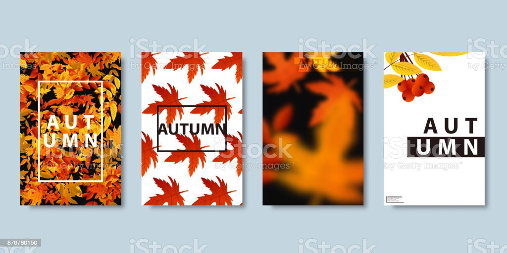 Vector set of realistic isolated brochure of autumn for sale flyer, magazine poster design, decoration and covering on the bright background. Concept of Happy Autumn. vector art illustration