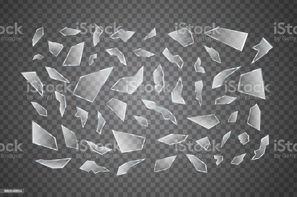 Vector set of realistic isolated broken glass shards for decoration and covering on the transparent background. vector art illustration