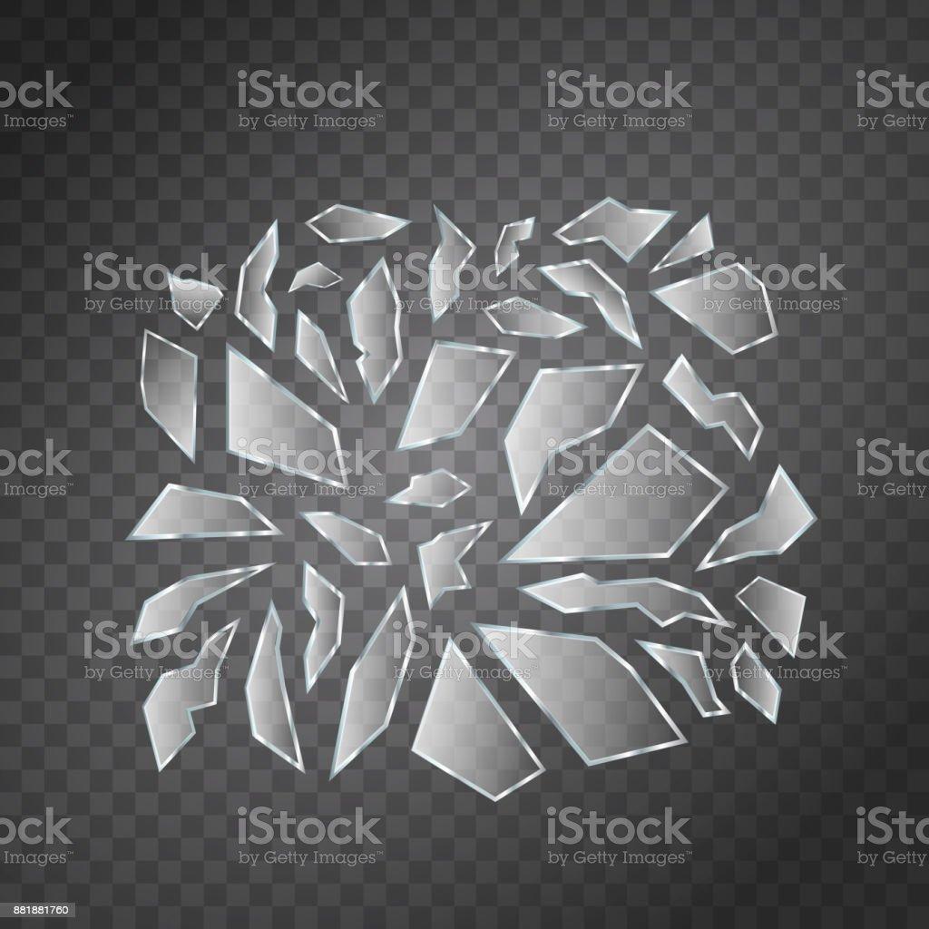Vektor-Set realistisch isoliert Glasbruch Splitter für Dekoration und Verkleidung auf dem transparenten Hintergrund. – Vektorgrafik