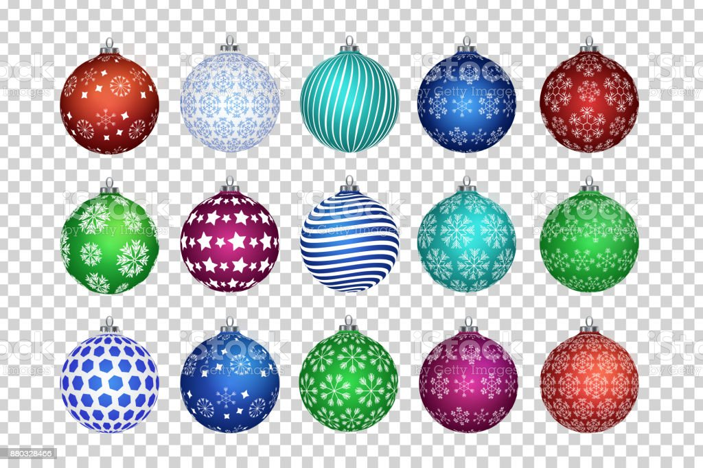 Vector set of realistic isolated Christmas balls for decoration and covering on the transparent background. Concept of Merry Christmas and Happy New Year. royalty-free vector set of realistic isolated christmas balls for decoration and covering on the transparent background concept of merry christmas and happy new year stock illustration - download image now