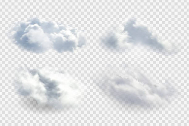 Vector set of realistic isolated cloud for template decoration and mockup covering on the transparent background. Concept of storm and sky. Vector set of realistic isolated cloud for template decoration and mockup covering on the transparent background. Concept of storm and sky. altocumulus stock illustrations