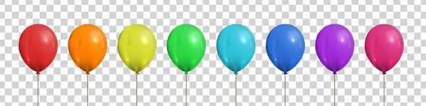 ilustrações, clipart, desenhos animados e ícones de jogo do vetor de balões coloridos isolados realísticos para a decoração do molde e do convite no fundo transparente. conceito da celebração do aniversário e do aniversário. - balão decoração