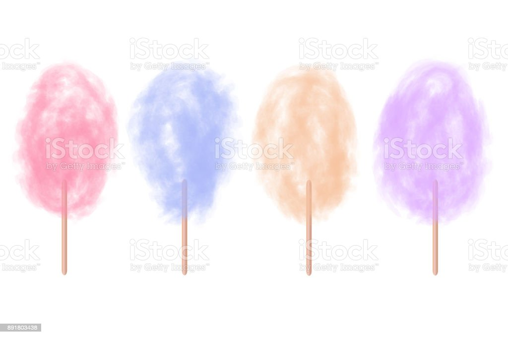 Vector set of realistic isolated cotton sugar candy on the white background. vector art illustration