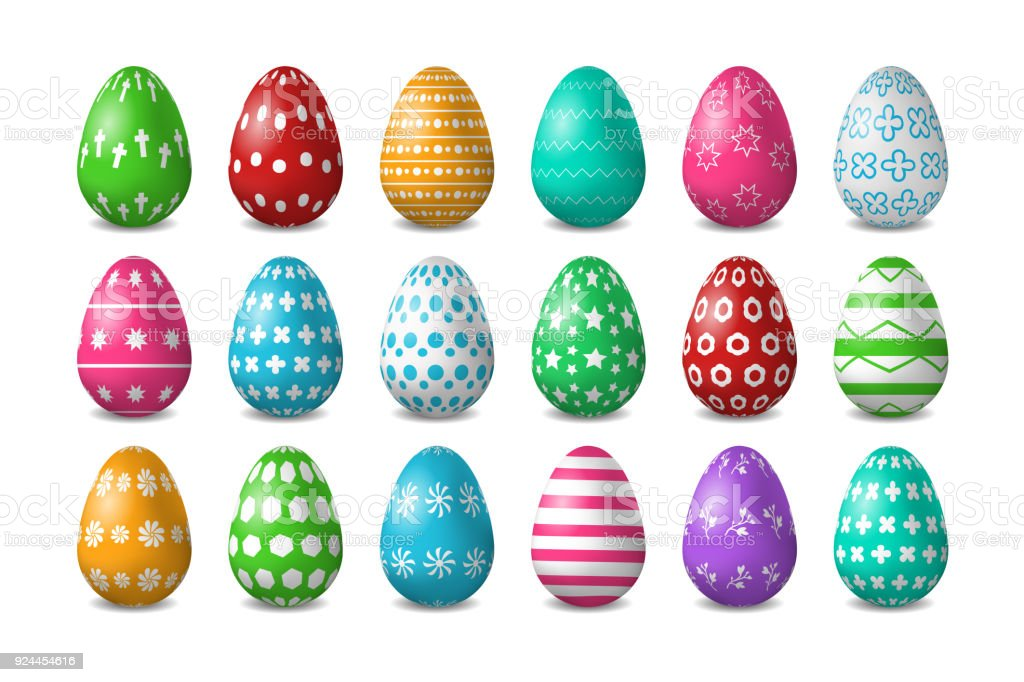 Gerçekçi Kümesi Vektör Yumurta Süsleme Ve Beyaz Arka Plan üzerinde