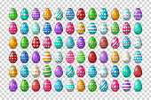 Vector set of realistic isolated easter eggs for decoration and covering on the transparent background. Concept of Happy Easter.