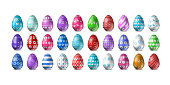 Vector set of realistic isolated easter eggs for decoration and covering on the white background. Concept of Happy Easter.