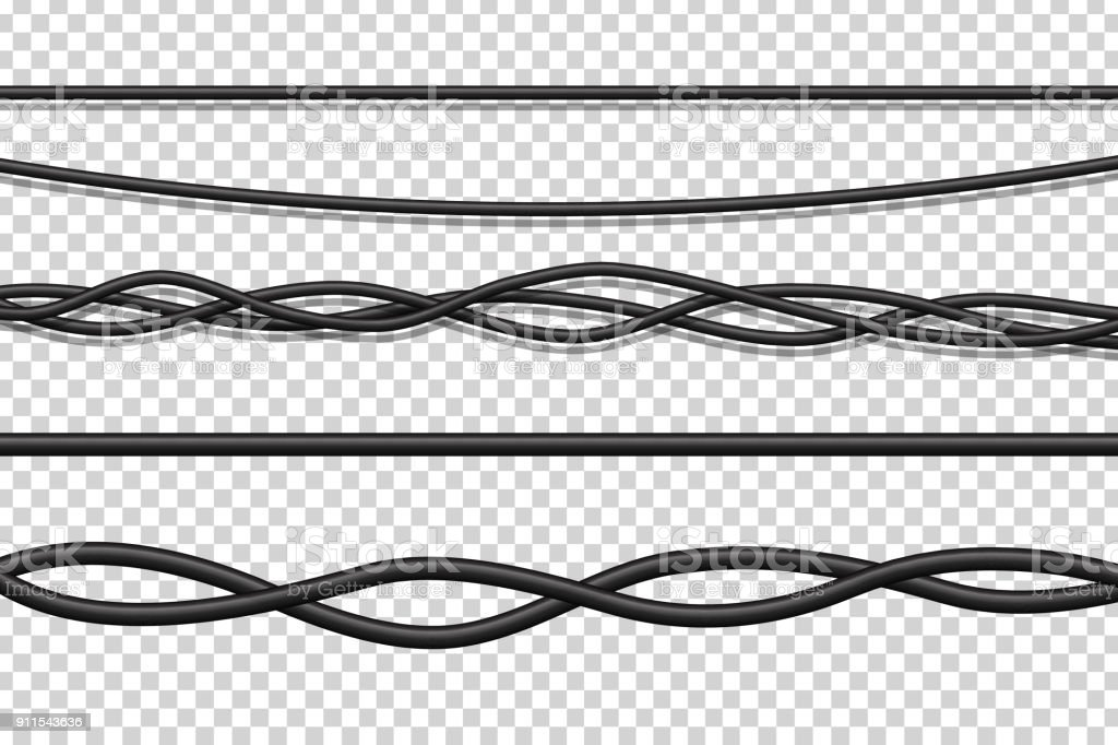 Vector set of realistic isolated electrical wires for decoration and covering on the transparent background. Concept of flexible network cables, electronics and connection. vector art illustration