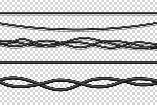 ilustrações, clipart, desenhos animados e ícones de conjunto de vetores de realistas fios eléctricos isolados para a decoração e cobertura no plano de fundo transparente. conceito de cabos de rede flexível, eletrônica e conexão. - arame