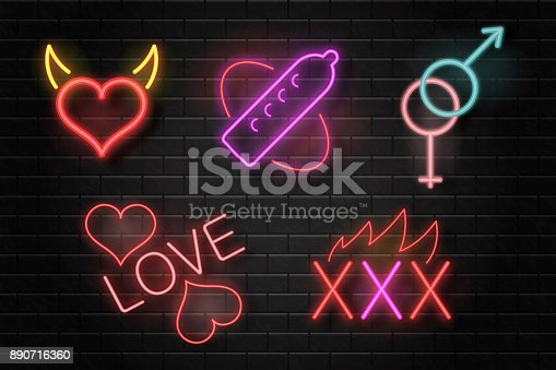 Vector set of realistic isolated neon erotic signs for decoration on the wall background.