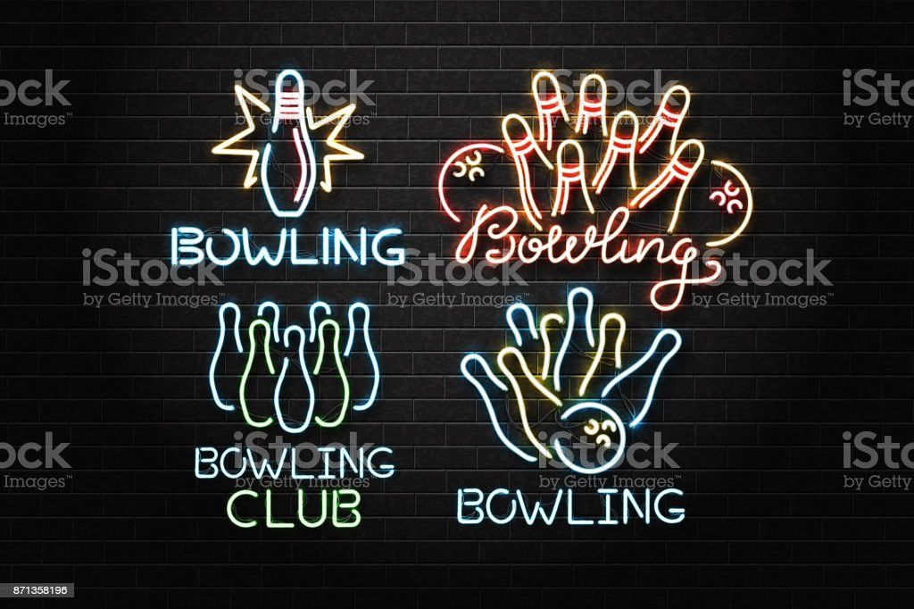 Vector set of realistic isolated neon sign for bowling for decoration and covering on the wall background. Concept of game sport and bowling club. vector art illustration