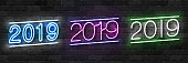 Vector set of realistic isolated neon sign of 2019 Merry Christmas logo for decoration and covering on the wall background. Concept of Happy New Year.