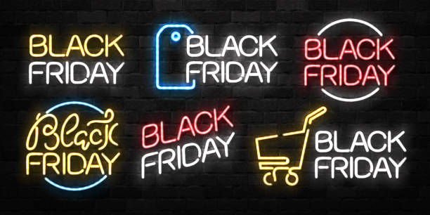 Vector set of realistic isolated neon sign of Black Friday symbol for decoration and covering on the wall background. Concept of sale and discount. Vector set of realistic isolated neon sign of Black Friday symbol for decoration and covering on the wall background. Concept of sale and discount. black friday sale neon stock illustrations