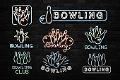 Vector set of realistic isolated neon sign of Bowling symbol for decoration and covering on the wall background. Concept of game sport and bowling club.