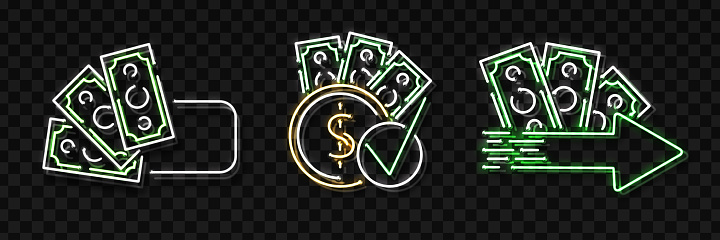 Vector Set Of Realistic Isolated Neon Sign Of Cash Loans ...