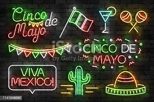 istock Vector set of realistic isolated neon sign of Cinco De Mayo symbol for template decoration and invitation covering on the wall background. Concept of Viva Mexico. 1141046392