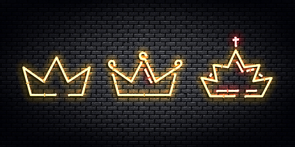 Vector set of realistic isolated neon sign of Crown logo for decoration and covering on the wall background.