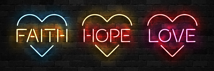 Vector set of realistic isolated neon sign of Faith, Hope and Love symbol with heart shape for template decoration on the wall background.