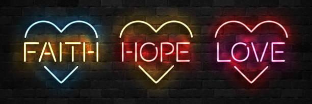 ilustraciones, imágenes clip art, dibujos animados e iconos de stock de vector conjunto de signo de neón aislado realista de fe, esperanza y amor símbolo con forma de corazón para la decoración de la plantilla en el fondo de la pared. - esperanza
