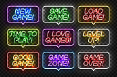 Vector set of realistic isolated neon sign of Game logo for template and layout on the transparent background. Concept of gaming.