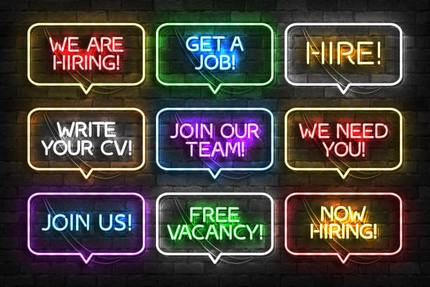 Vector set of realistic isolated neon sign of Hire logo for template decoration and invitation covering on the wall background. Concept of hiring, cv and career. Vector set of realistic isolated neon sign of Hire logo for template decoration and invitation covering on the wall background. Concept of hiring, cv and career. help wanted sign stock illustrations