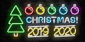 Vector set of realistic isolated neon sign of Merry Christmas icon for template decoration and invitation covering on the wall background. Concept of Happy New Year.