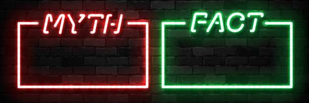 bildbanksillustrationer, clip art samt tecknat material och ikoner med vector uppsättning realistiska isolerade neon tecken på myt eller fakta frame logotyp för mall dekoration på väggen bakgrunden. koncept av frågesport och mystik. - mysterium