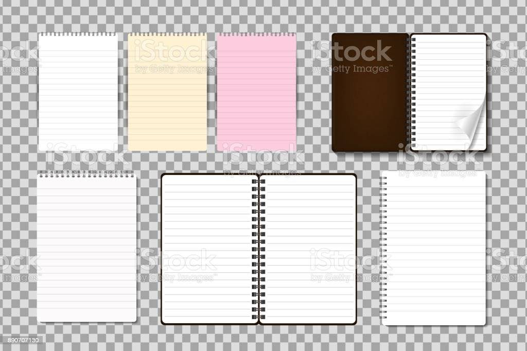 Vector set of realistic isolated notepad on the transparent background. Realistic paper mock up template for covering design, branding, corporate identity and advertising. vector art illustration