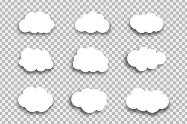 ilustraciones, imágenes clip art, dibujos animados e iconos de stock de conjunto de vector de nubes realistas papel aislado para decoración y revestimiento en el fondo transparente. - informática en la nube