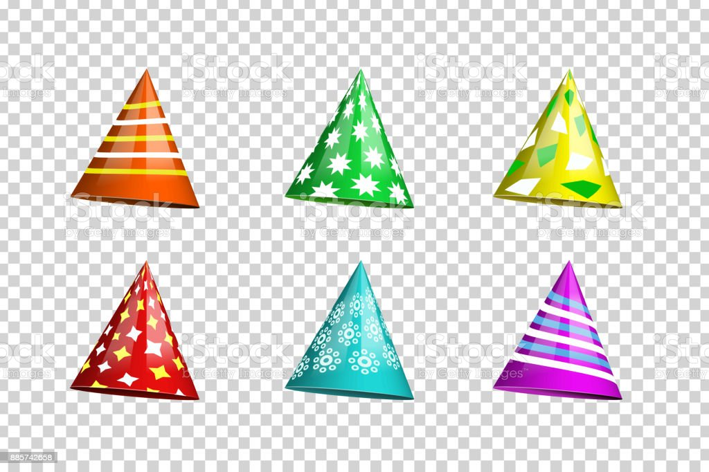 Vector set of realistic isolated party hats on the transparent background for photo decoration and covering. Concept of birthday, holiday and celebration. vector art illustration