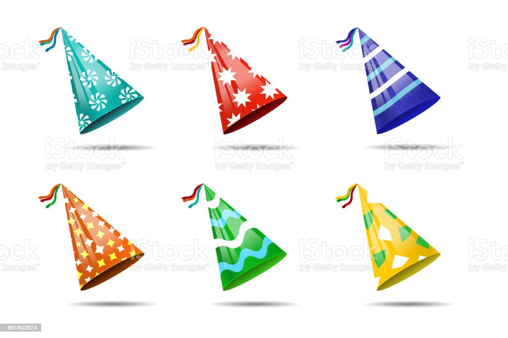 Vector set of realistic isolated party hats on the white background for photo decoration and covering. Concept of birthday, holiday and celebration. vector art illustration