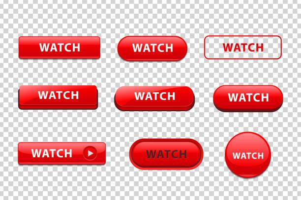 illustrazioni stock, clip art, cartoni animati e icone di tendenza di set vettoriale di pulsanti rossi isolati realistici del logo watch per la decorazione del modello e la copertura del mockup del sito web sullo sfondo trasparente. - tastierino numerico