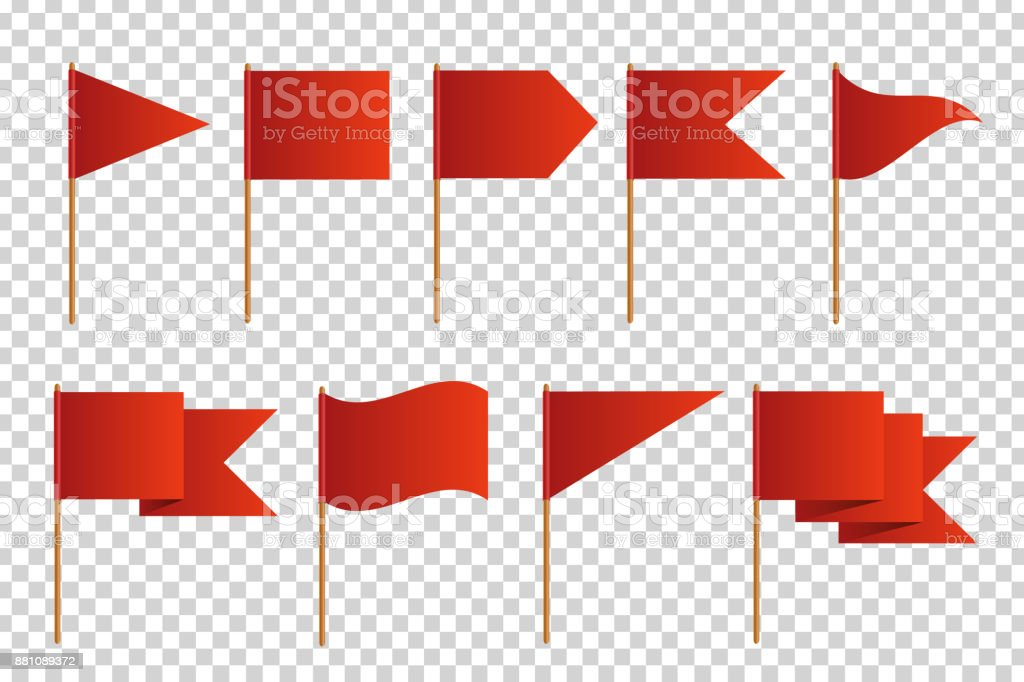 Vector set of realistic isolated red flags for decoration and covering on the transparent background. Concept of pointer, tag and important sign. vector art illustration