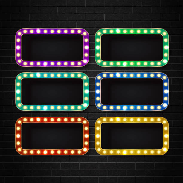 Vector set of realistic isolated retro rectangle neon billboard for decoration and covering on the wall background. Concept of cinema and broadway. vector art illustration