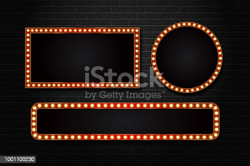 istock Vector set of realistic isolated retro rectangle neon marquee billboard for decoration and covering on the wall background. Concept of cinema and broadway. 1001100230