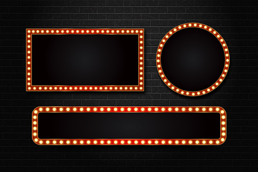 Vector set of realistic isolated retro rectangle neon marquee billboard for decoration and covering on the wall background. Concept of cinema and broadway.