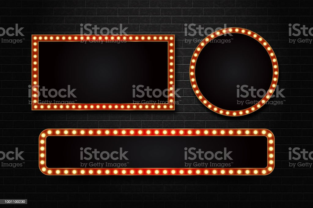 Vector set of realistic isolated retro rectangle neon marquee billboard for decoration and covering on the wall background. Concept of cinema and broadway. vector art illustration