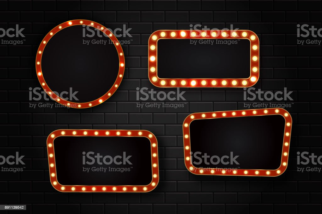 Vector set of realistic isolated retro sign neon billboards on the wall background. Template for vintage decoration and signboard. vector art illustration