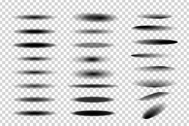 vector set of realistic isolated round and oval shadows for decoration and covering on the transparent background. - тень stock illustrations